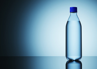 Water bottle, on a blue background, mockup for the presentation. 3d illustration.