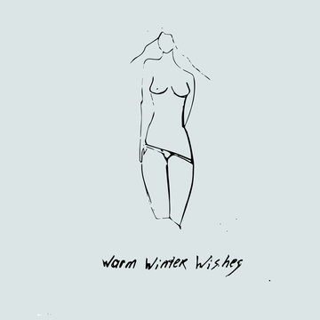 Warm winter wishes card. Sexy girl with beautiful legs.