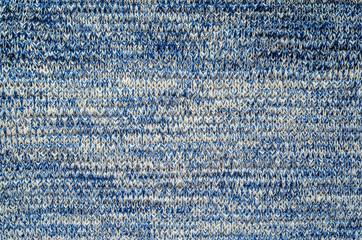 Blue Melange Yarn Sweater Texture. Knitted sweater blank background