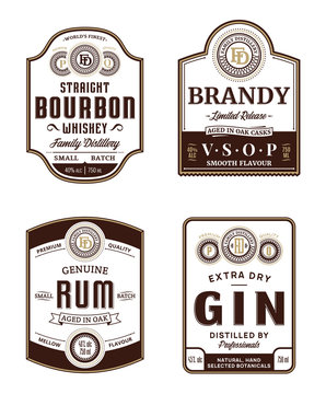 Alcoholic drinks vintage labels