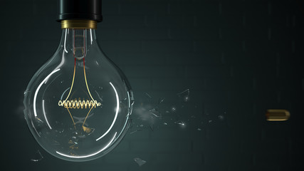 3d illustration. Bullet punches a light bulb close-up. Background greeting card, screen saver