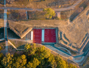 Aerial of basketball courts outdoors