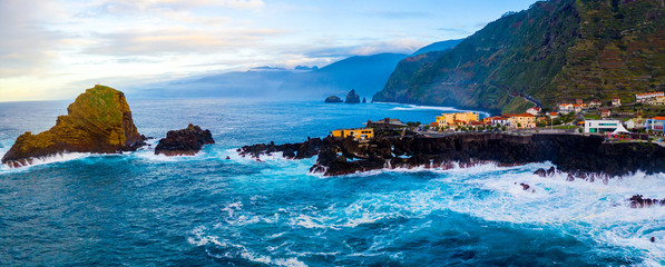 Aerial Madeira island view with Atlantic ocean, white waves, cliffs and green nature Fototapete