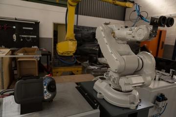 Robotic machine in warehouse