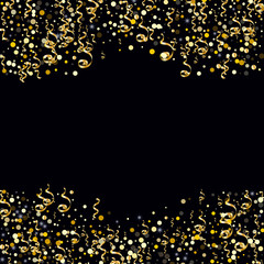 Golden serpentine and confetti on a black background Creative design of wallpaper, background, cover, printing, packaging