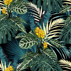 Tropical exotic floral green and blue monstera palm leaves seamless pattern, yellow flowers. Exotic jungle wallpaper on black background.