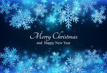 Blue New Year Banner With Sparkling Snowflakes. Christmas Beauty Background.