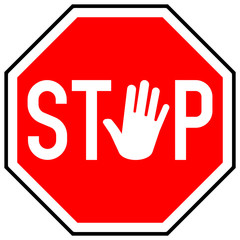 osn5 OctagonSignNew osn - Stop / Red Stop Road Sign With Hand / stop gesture - octagon xxl g6800