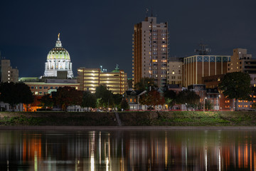 Pennsylvania State Capital Building Harrisburg Dusk River Waterfront