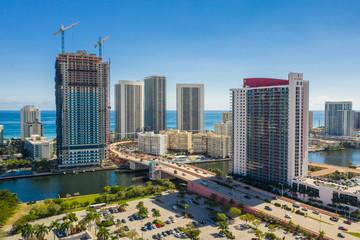 Aerial drone photo Hallandale Beach FL USA