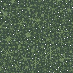Seamless Vector Winter Wonderland Night Snowflakes + Flurries in Forest & Moss Green + White
