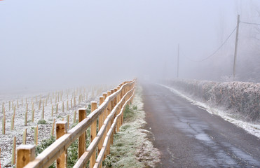 Frosty winter country road and fence
