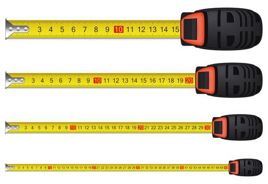 Realistic measure tape set. Vector illustration