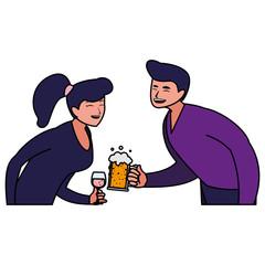 cartoon happy couple