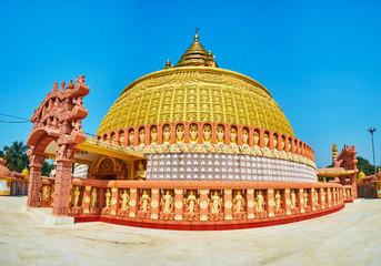 Visit pagoda of Sitagu International Buddhist Academy and enjoy its ornate exterior with fine plasterwork and traditional Burmese decors, Sagaing, Myanmar.
