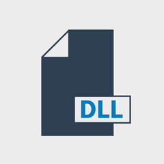 Dynamic Link Library (DLL) file format Icon on gray background.