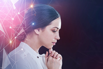 Pensive businesswoman, network interface