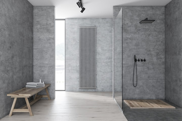 Gray bathroom with shower