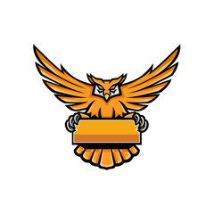 Yellow Owl Spreading Wings Banner Mascot