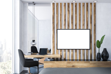 White and wooden home office, tv
