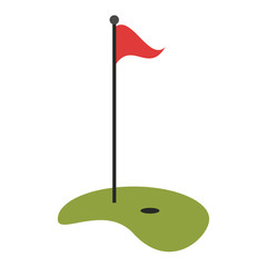 Golf playfield flag and hole