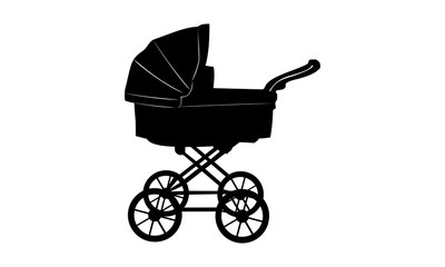 silhouette of a baby carriage.