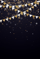Black Happy New Year card with golden paper flags and snowflakes.