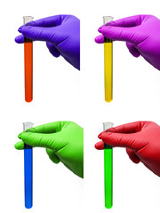 hands with rubber gloves and test tubes with colored fluids - colorful