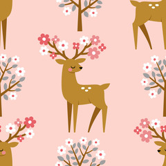 Seamless vector pattern with cute deers and blooming trees on pink background.