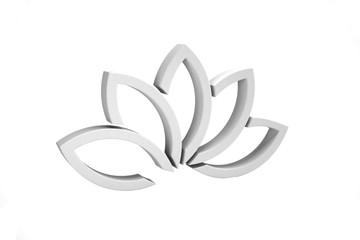 White Lotus Flower Background. 3D Render Illustration