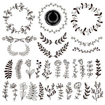 A set of hand-drawn plants.
