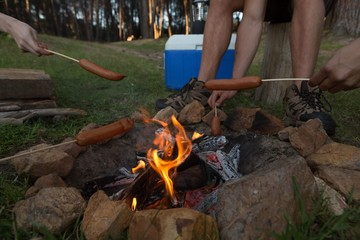 Group of friends roasting sausage on campfire at campsite