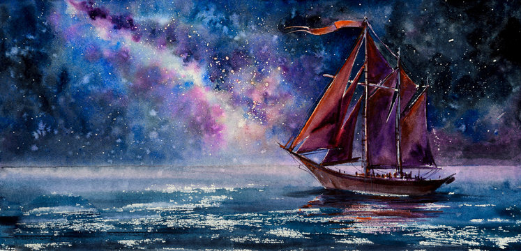 Old Wooden Sailboat with red sails. Picture created with watercolors.