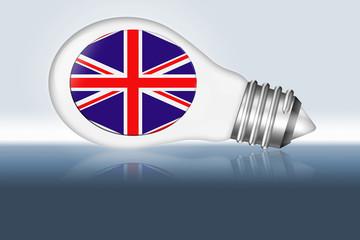 A lightbulb with a Union Jack flag