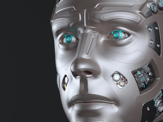 Futuristic robot head or cyborg face. Isolated on black background. 3D Render.