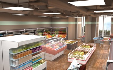 shop, grocery store, interior visualization, 3D illustration