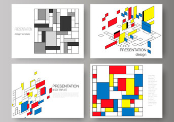 The minimalistic abstract vector editable layout of the presentation slides design business templates. Abstract polygonal background, colorful mosaic pattern, retro bauhaus de stijl design.