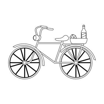 Vintage bike with wine and cheese in black and white