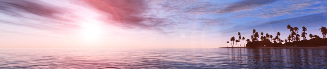 Sunset over the tropical sea, panorama of the seascape,