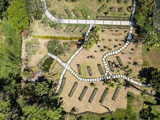 Indonesia, Bali, Aerial view of Sanur, gardens