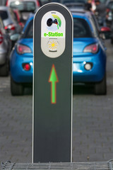 The future of the automobile charging of modern electric car on the street