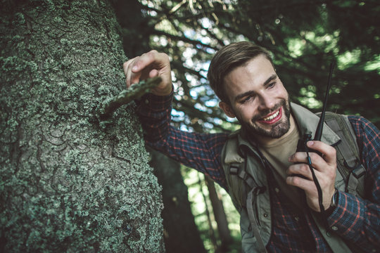 Concept of experienced journey and adventure. Waist up portrait of cheerful bearded man talking on portable radio set while leaning tree in forest