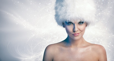 Cheerful woman with winter hat