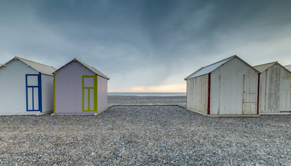 France west coast Cayeux 26 May, 2018 beach cabins at the longest boardwalk of Europe.