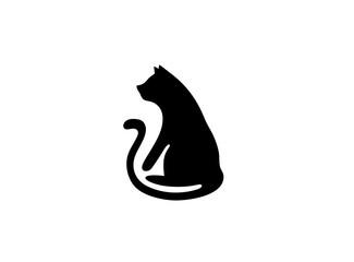 Black cat with big tail logo design
