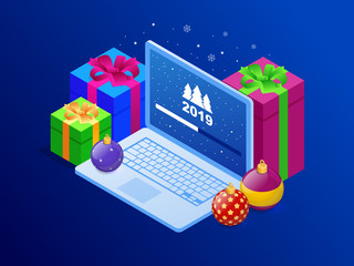 Isometric Happy New 2019 year concept. System software update and upgrade. Loading process in laptop screen.