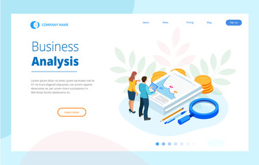 Isometric Analysis data and Investment. Stack of documents with an official stamp and pencils in a glass. Creative landing page design template.