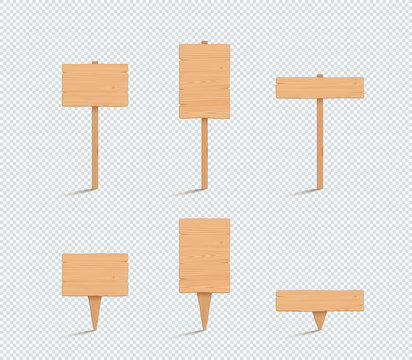 Wooden Sign Plain Empty 3d Vector Illustration Set