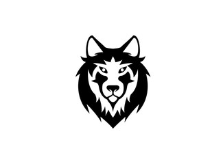 Wolf head and face looking in front for logo vector design