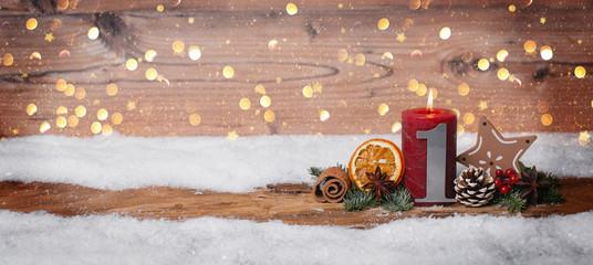 1 Advent Hintergrund Panorama Glitter Bokeh